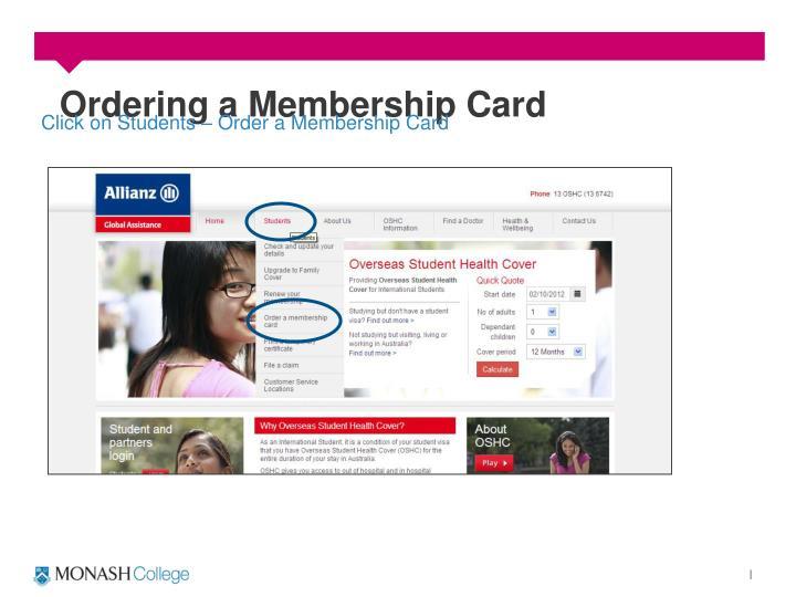 Ordering a Membership Card