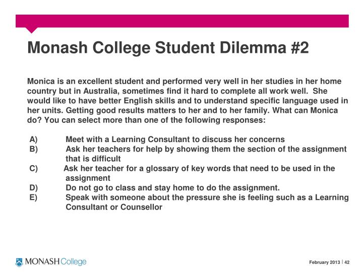 Monash College Student Dilemma #2