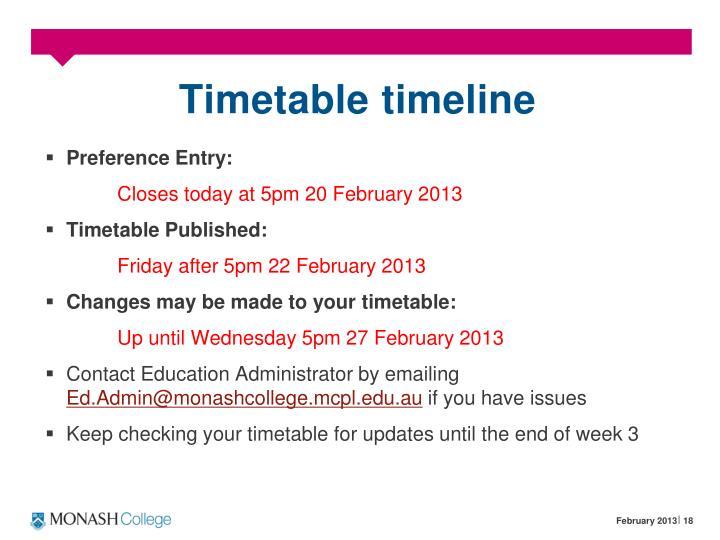 Timetable timeline