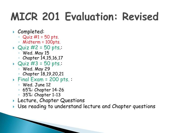 MICR 201 Evaluation: Revised