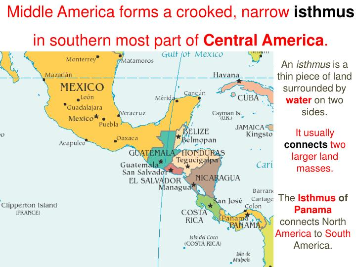 Middle America forms a crooked, narrow