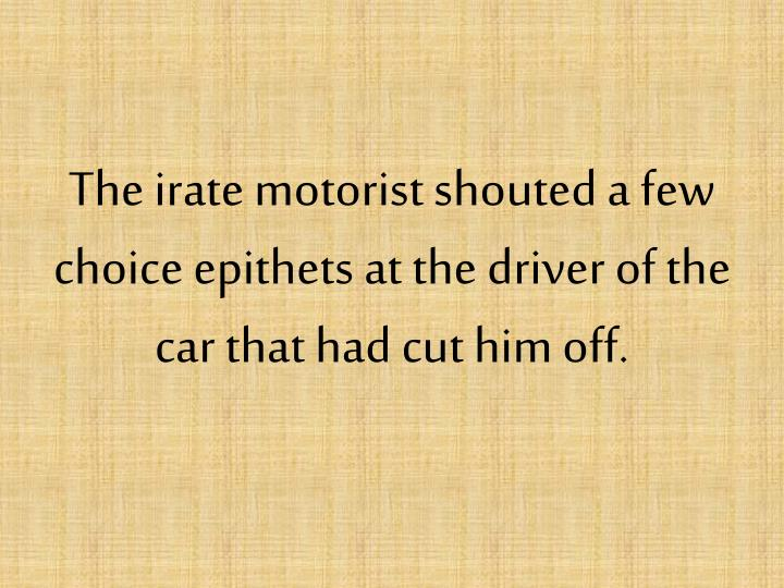 The irate motorist shouted a few choice epithets at the driver of the car that had cut him off.