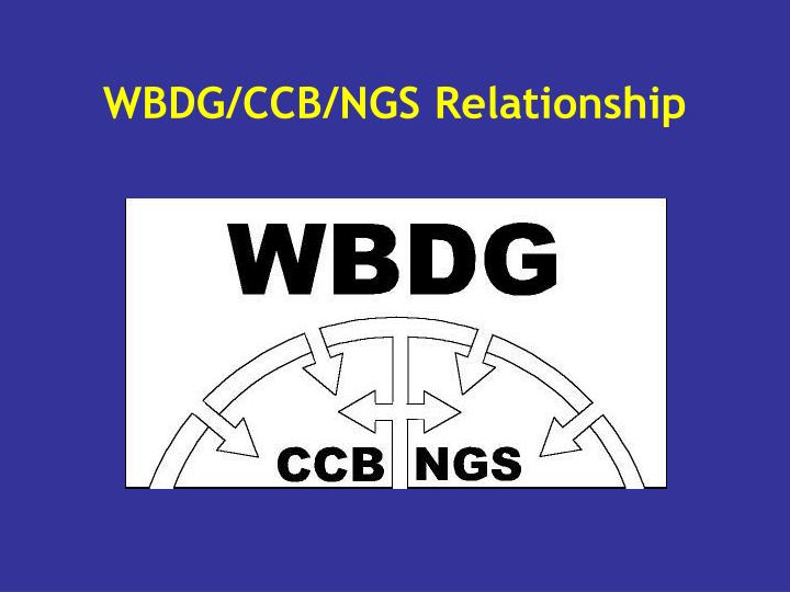 WBDG/CCB/NGS Relationship