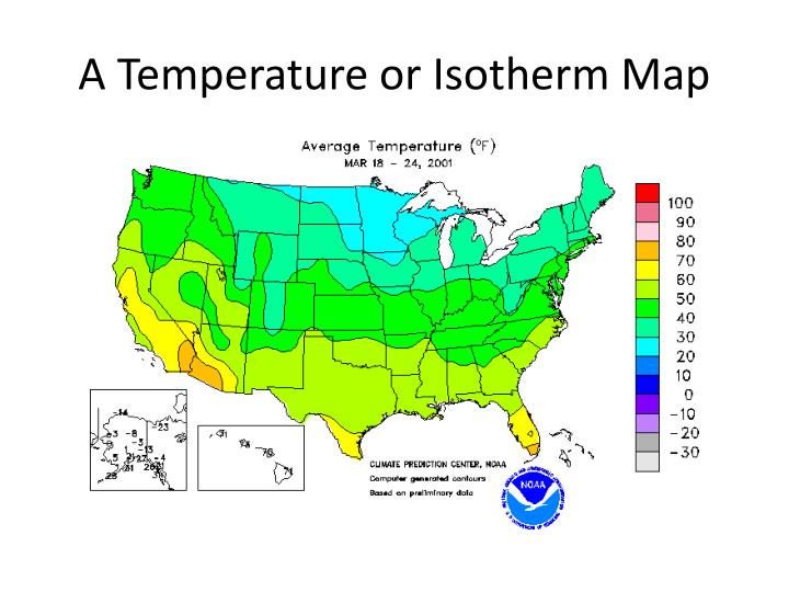 A Temperature or Isotherm Map