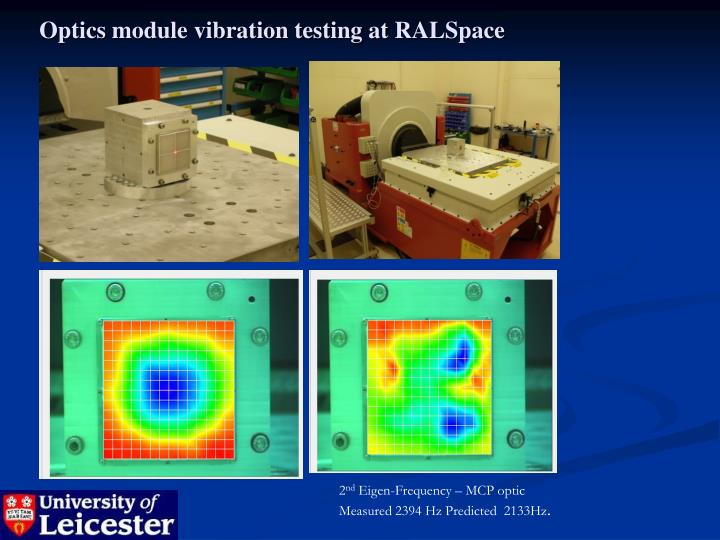 Optics module vibration testing at