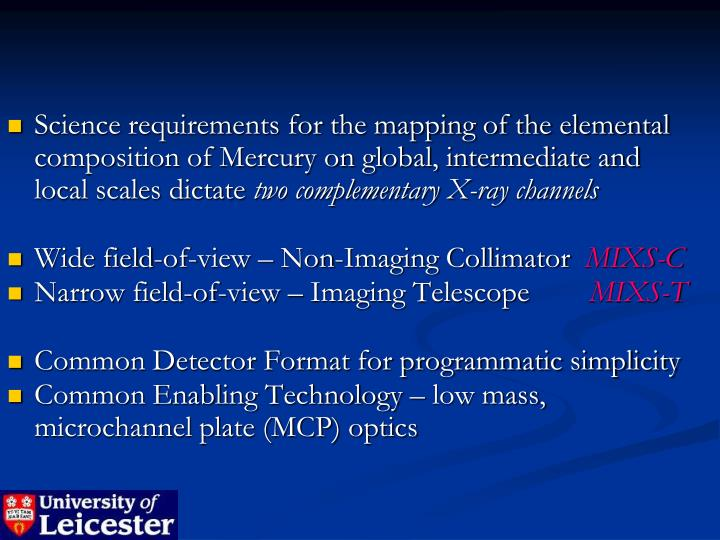 Science requirements for the mapping of the elemental composition of Mercury on global, intermediate and  local scales dictate