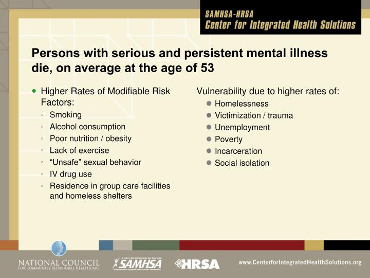 Persons with serious and persistent mental illness die, on average at the age of 53