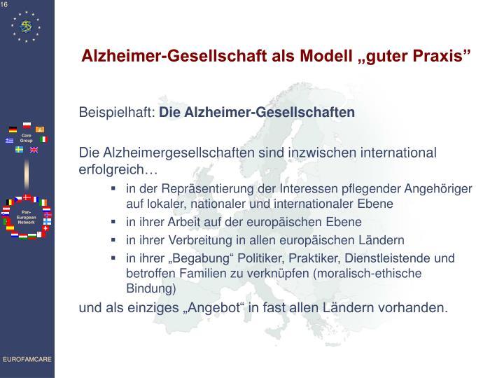 """Alzheimer-Gesellschaft als Modell """"guter Praxis"""""""