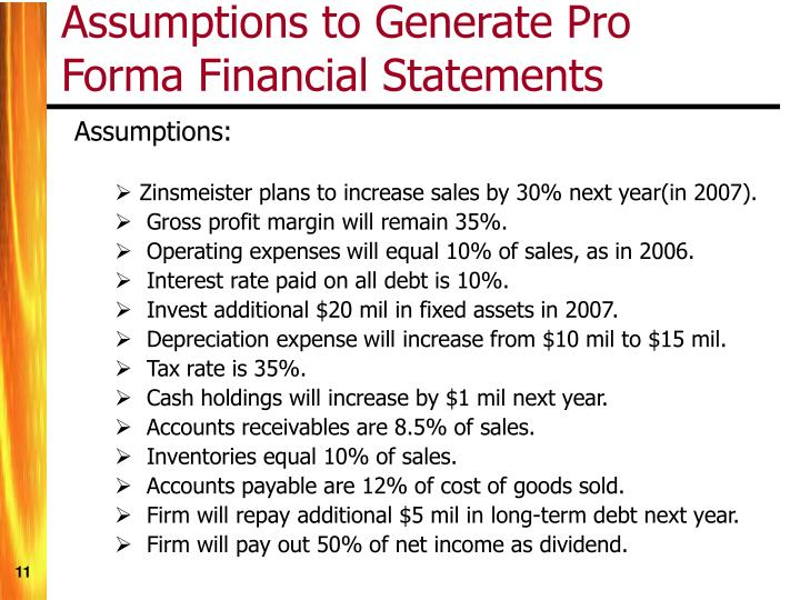 Assumptions to Generate Pro Forma Financial Statements
