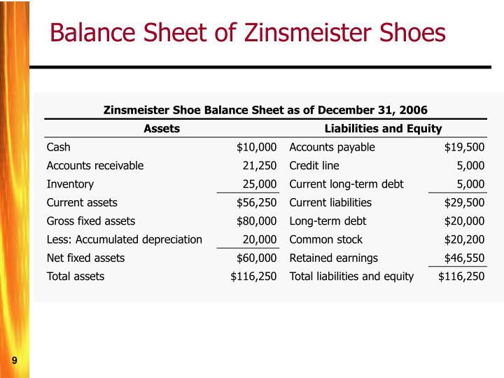 Zinsmeister Shoe Balance Sheet as of December 31, 2006