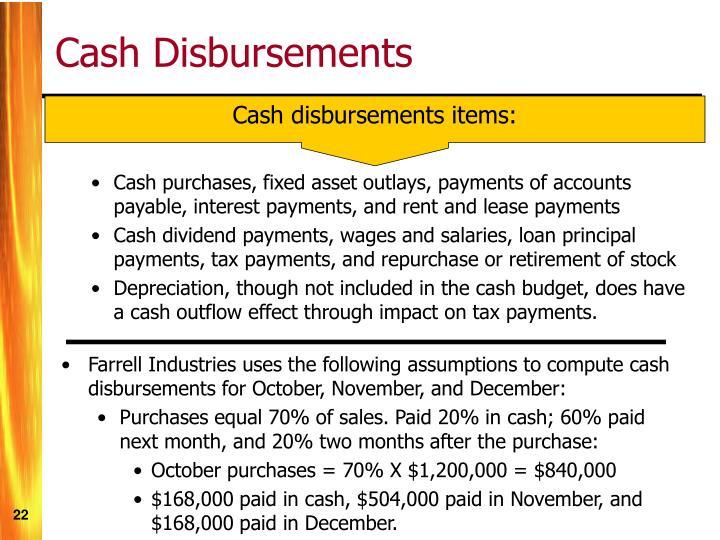 Cash disbursements items: