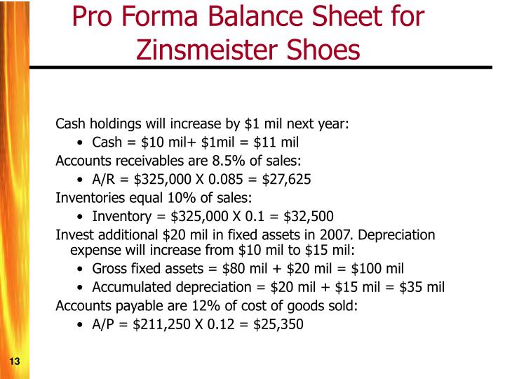 Pro Forma Balance Sheet for Zinsmeister Shoes