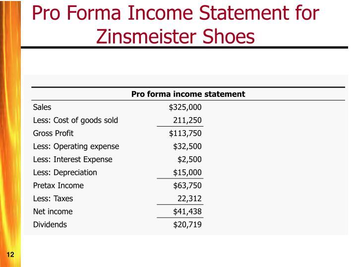Pro forma income statement