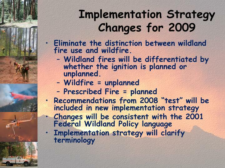 Implementation Strategy Changes for 2009