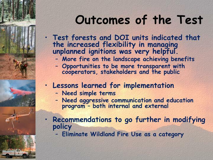 Outcomes of the Test
