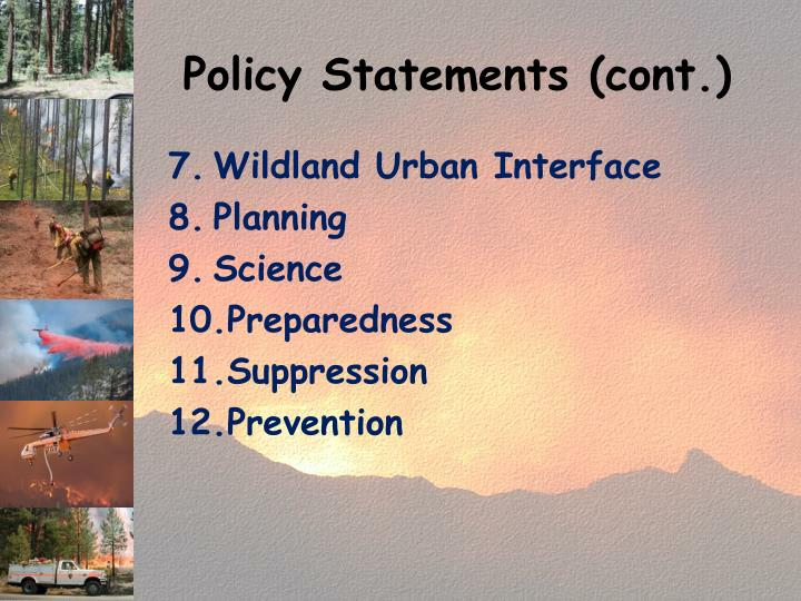 Policy Statements (cont.)