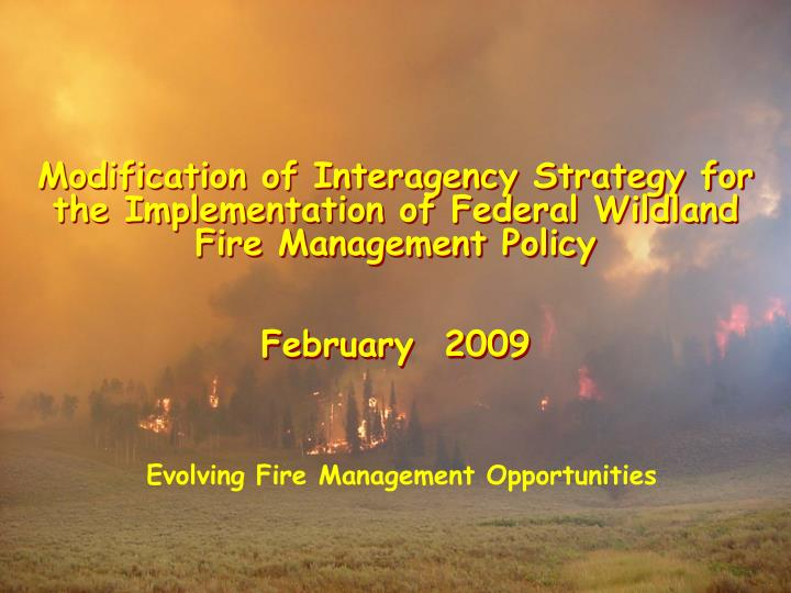 Modification of Interagency Strategy for the Implementation of Federal Wildland