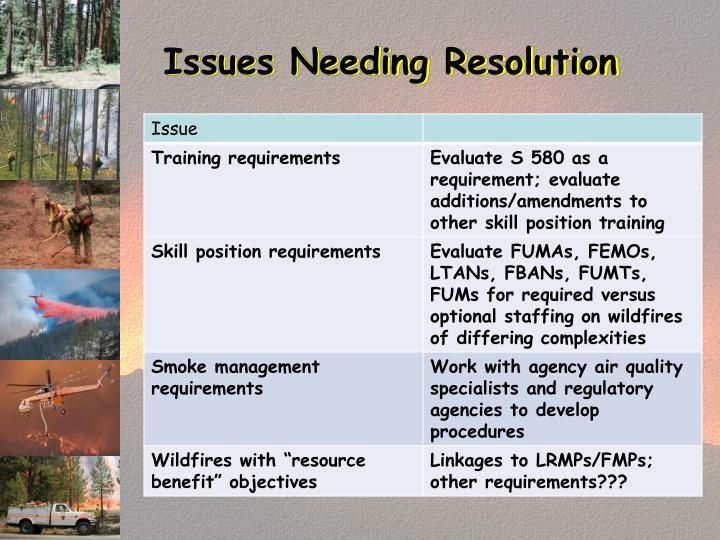 Issues Needing Resolution