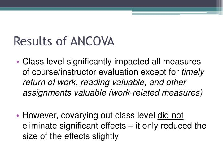 Results of ANCOVA
