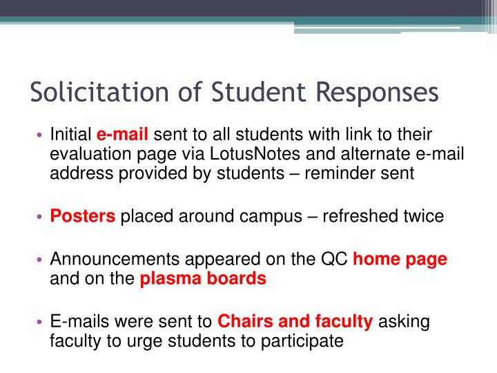 Solicitation of Student Responses
