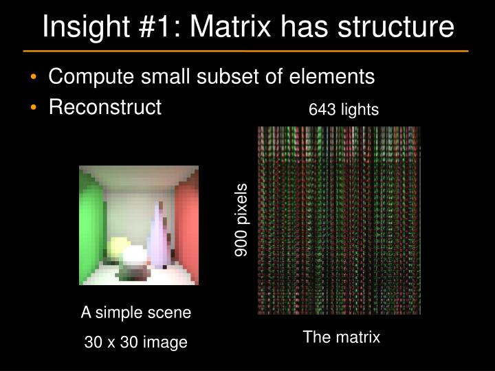 Insight #1: Matrix has structure