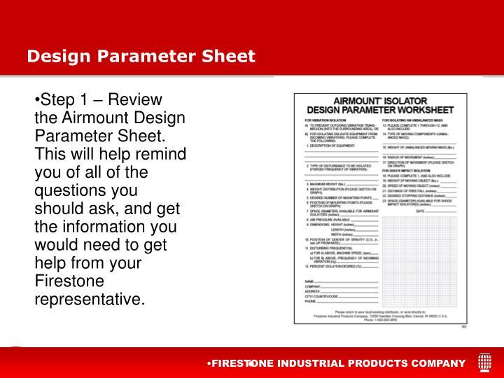 Design Parameter Sheet