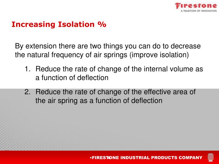 By extension there are two things you can do to decrease the natural frequency of air springs (improve isolation)