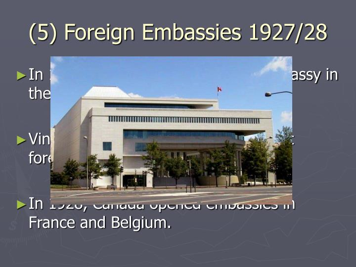 (5) Foreign Embassies 1927/28