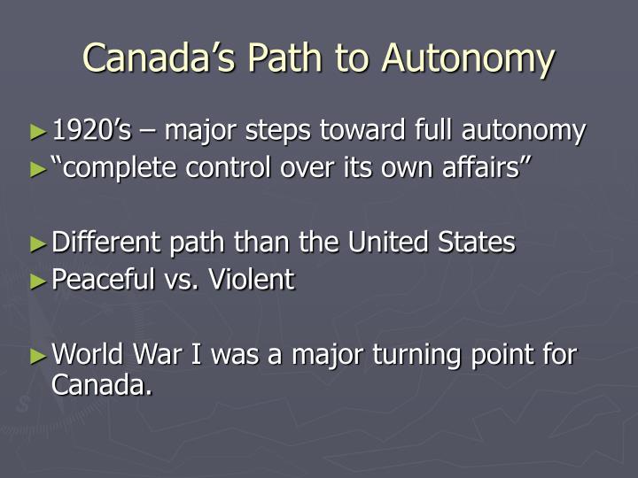 Canada's Path to Autonomy