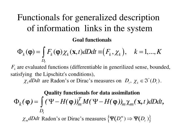 Functionals for generalized description