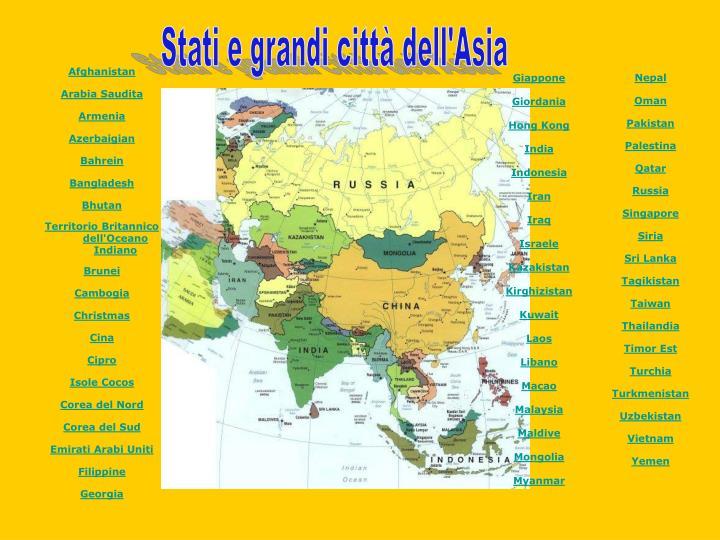 Stati e grandi città dell'Asia