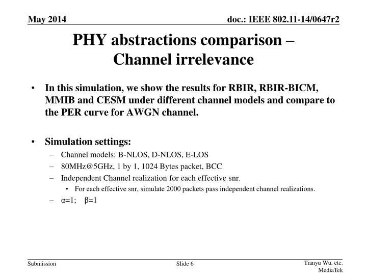 PHY abstractions comparison –