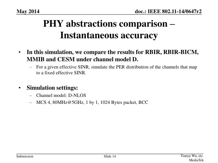 PHY abstractions comparison – Instantaneous accuracy