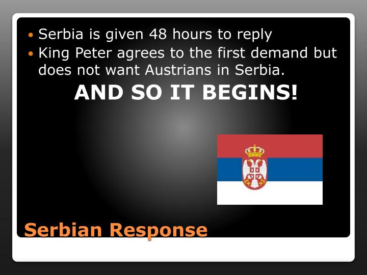 Serbia is given 48 hours to reply