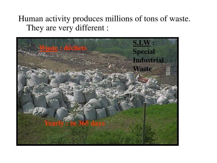 Human activity produces millions of tons of waste. They are very different :