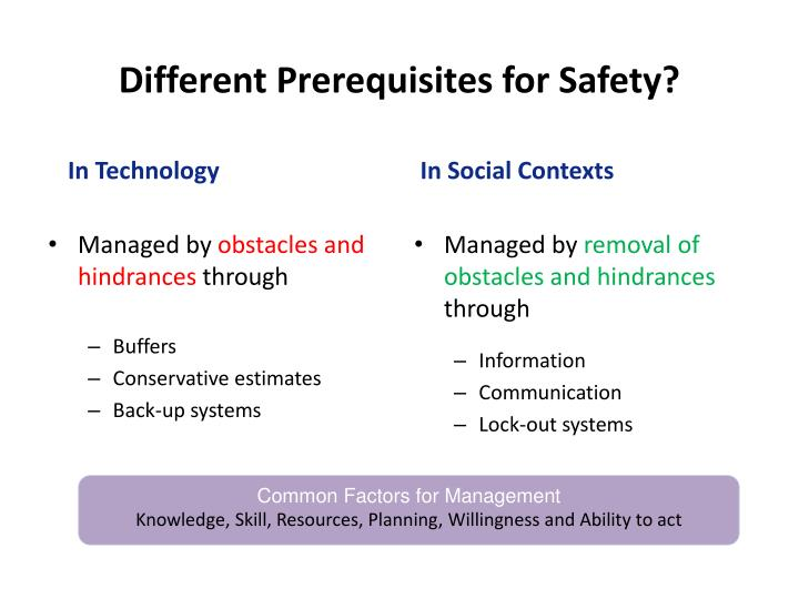 Different Prerequisites for Safety?