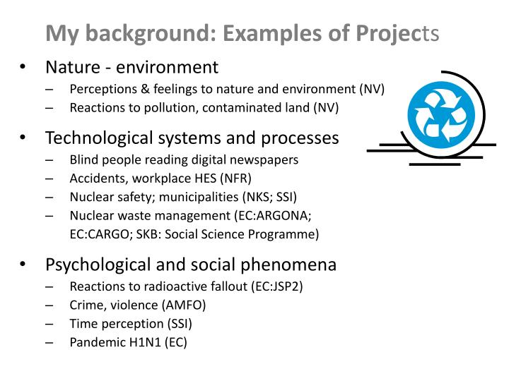 My background: Examples of Projec