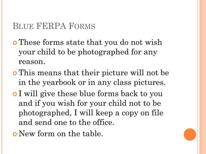 Blue ferpa forms