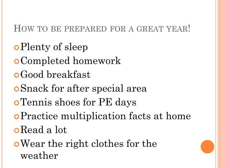 How to be prepared for a great year!