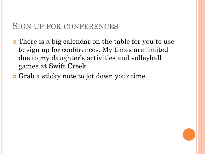 Sign up for conferences