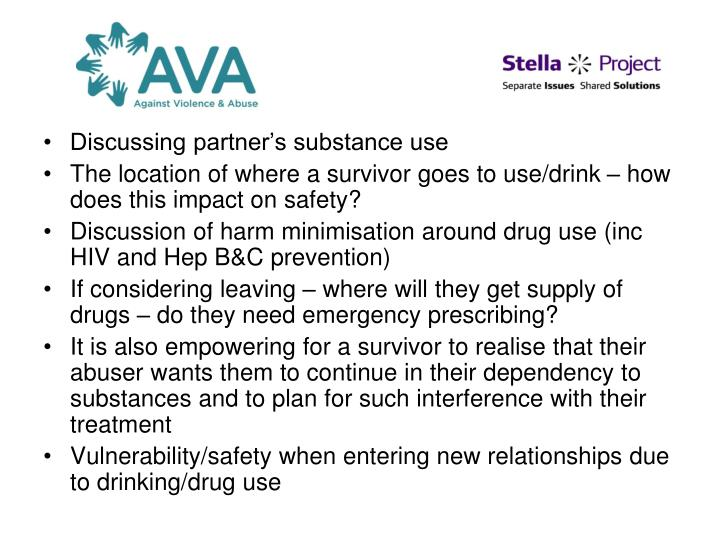 Discussing partner's substance use