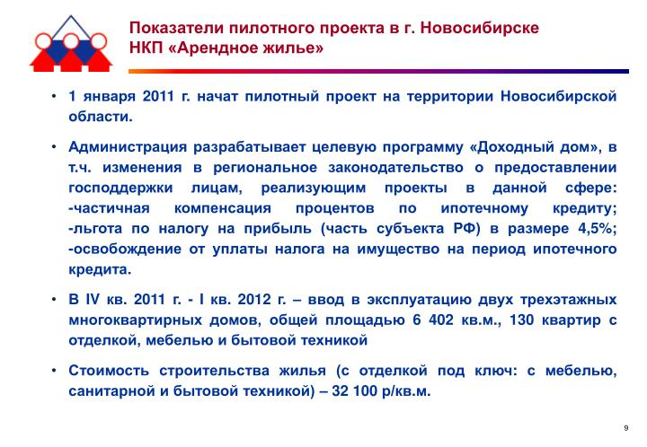 Показатели пилотного проекта в г. Новосибирске