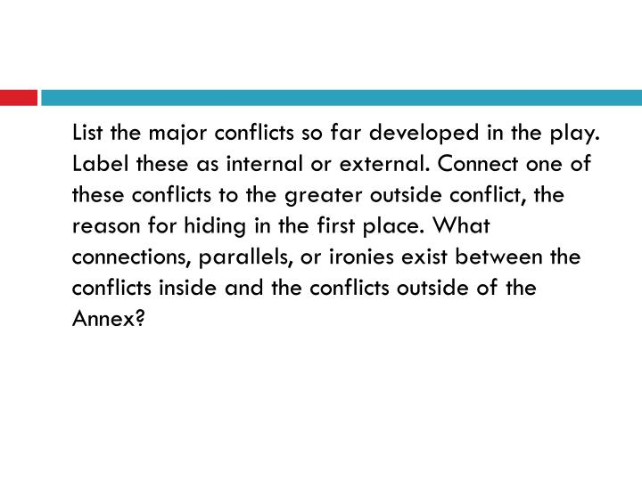 List the major conflicts so far developed in the play. Label these as internal or external. Connect one of these conflicts to the greater outside conflict, the reason for hiding in the first place. What connections, parallels, or ironies exist between the conflicts inside and the conflicts outside of the Annex?