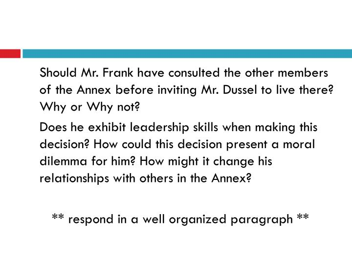 Should Mr. Frank have consulted the other members of the Annex before inviting Mr.