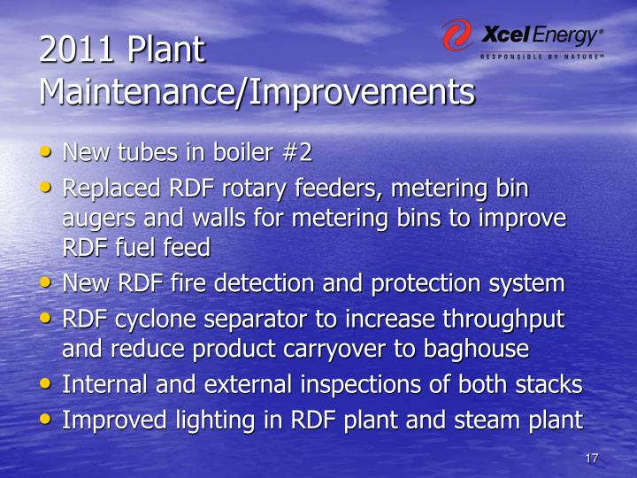 2011 Plant Maintenance/Improvements