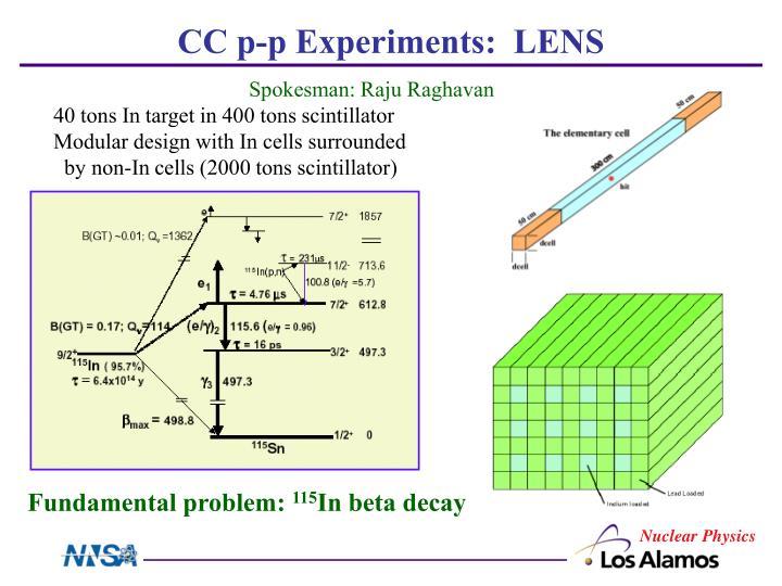 CC p-p Experiments:  LENS