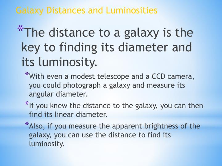 Galaxy Distances and Luminosities