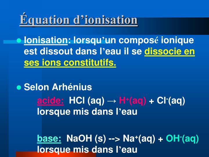 Équation d'ionisation