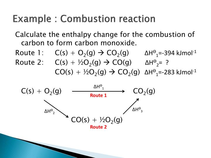 Example : Combustion reaction