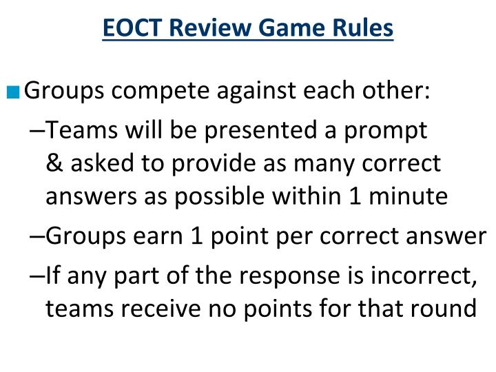 EOCT Review Game Rules